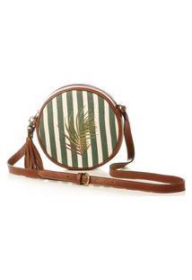 Bolsa Blue Bags Redonda Listrada Bordada E Couro Verde