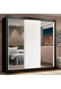 Guarda-Roupa Casal Madesa Lyon Plus 3 Portas De Correr Com Espelhos 4 Gavetas Preto - Preto - Dafiti