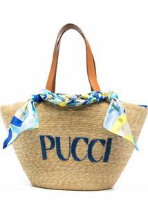 Emilio Pucci Bolsa Tote Com Logo Bordado - Neutro