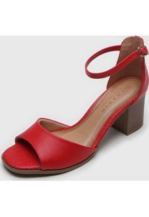 Sandália Ramarim Salto Amadeirado Vermelha