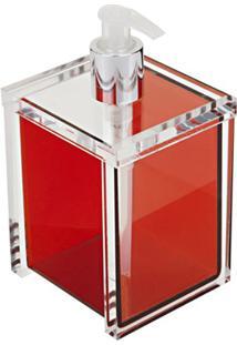 Saboneteira Liquida Quadrada Vermelha 455 Vm