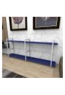 Aparador Industrial Aço Cor Branco 180X30X68Cm (C)X(L)X(A) Cor Mdf Azul Modelo Ind37Azapr