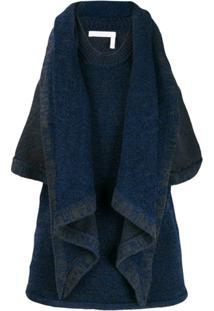 Chloé Blusa Drapeada De Tricô - Azul