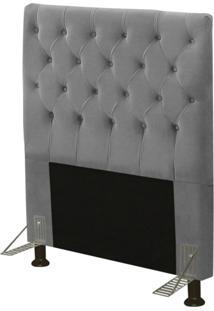 Cabeceira Js Móveis Cama Box Solteiro 90Cm Cristal Suede Cinza