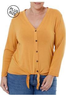 Blusa 3/4 Plus Size Feminina Autentique Amarelo