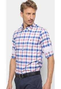 Camisa Tommy Hilfiger Masculino Slim Grid Check Shirt Masculina - Masculino-Azul+Vermelho