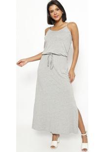 Vestido Longo Com Elástico E Amarração- Cinza- Vittrvittri