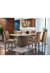Conjunto De Mesa De Jantar Luna I Com Vidro E 6 Cadeiras Grécia Veludo Chocolate E Off White