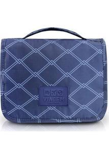 Necessaire Jacki Design De Viagem Com Alça Estampado - Unissex-Azul