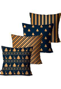 Kit Com 4 Capas Para Almofadas Pump Up Decorativas Natalinas Renas E Pinheiros Azul E Dourado 45X45Cm