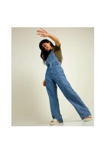 Macacão Feminino Jeans Pantalona Wide Leg Marisa