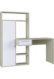 Escrivaninha Modern Office 1 Porta 1 Gaveta 4 Nichos Branco Estilare Móveis