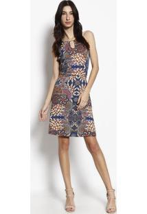 Vestido Com Recortes - Azul Marinho & Laranja - Luktluktal