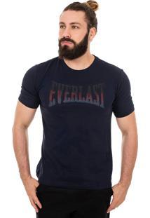 Camiseta Everlast Logo Desfoque Azul Marinho.
