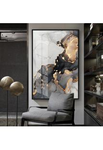 Quadro 150X100Cm Abstrato Bragi Vidro Cristal E Moldura Preta Decorativo Interiores - Oppen House