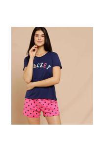 Pijama Feminino Bolinhas Mickey Manga Curta Disney