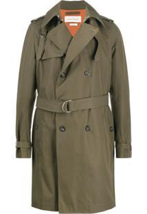 Alexander Mcqueen Trench Coat Com Abotoamento Duplo - Verde