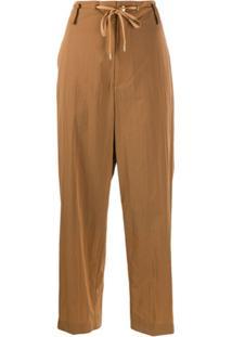Fumito Ganryu Loose Fit Drawstring Trousers - Marrom