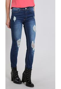 Calça Jeans Feminina Skinny Destroyed Azul Escuro
