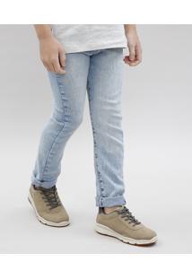 Calça Jeans Infantil Com Cinto Listrado Azul Claro