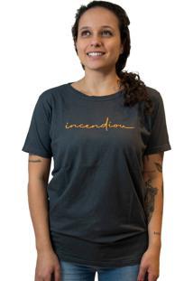 Camiseta Feminina Nego Joe Lettering Incendiou - Cinza Escura E Laranja Multicolorido
