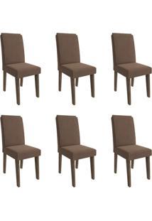 Conjunto Com 6 Cadeiras De Jantar Milena Suede Marrocos E Chocolate