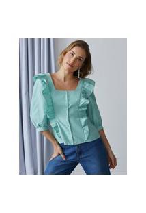 Amaro Feminino Blusa Decote Quadrado E Babados, Verde Claro