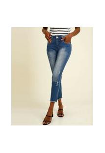 Calça Jeans Reta Feminina Puídos Biotipo