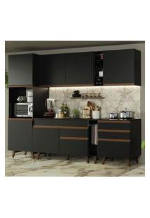 Cozinha Completa Madesa Reims 260005 Com Armário E Balcão Preto Cor:Preto