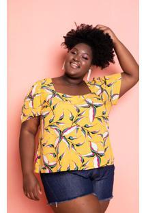 Blusa Estampada Folhagem Plus Size Domenica Solazzo