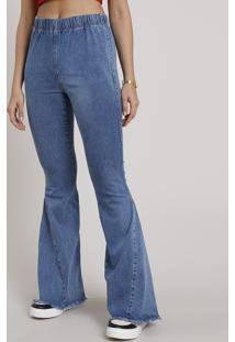 Calça Jeans Feminina Flare Cintura Super Alta Com Barra Desfiada Azul Médio