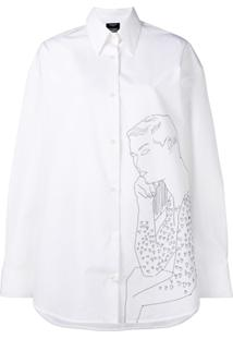 d3eddf826e188 ... Calvin Klein 205W39Nyc Camisa Oversized Com Bordado - Branco