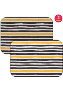 Jogo Americano Love Decor Wevans Abstrato Stripes Preto/Amarelo