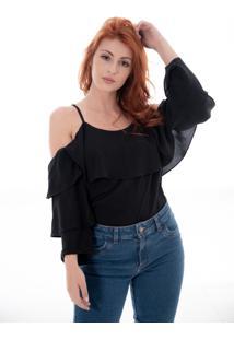 Blusa Sisal Jeans Alça Manga Longa Preta