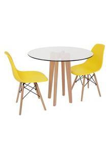 Conjunto Mesa De Jantar Em Vidro 90Cm Com Base Vértice + 2 Cadeiras Eiffel - Amarelo