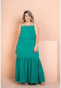 Vestido Longo Renda Verde Plus Size