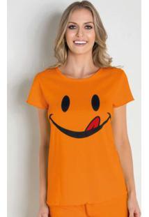 Camiseta De Pijama Laranja Com Estampa