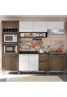Cozinha Compacta 9 Portas Isadora 0424T Castanho/Branco - Genialflex
