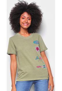 Camiseta T-Shirt Cantão Slim Patches Feminina - Feminino-Verde Escuro