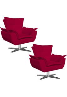 Kit 02 Poltronas Decorativas Gran Opala Base Estrela Em Aã§O Cromado Suede Vermelho - D'Rossi - Vermelho - Dafiti