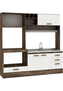 Cozinha Compacta Livia 4 Portas Sem Tampo Naturalle/Branco - Fellicci