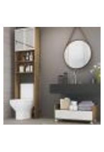 Armário De Banheiro Para Vaso Sanitário Com Espelho E Balcão Com Rodízios Multimóveis Rustic/Branco