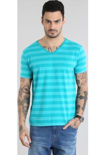 Camiseta Listrada Verde Água