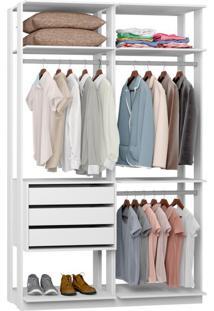 Guarda-Roupa Solteiro Modulado Clothes 3 Gv Branco
