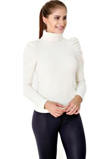 Blusa Fios Moda Tricot Princesa Off White