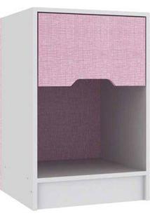 Mesa De Cabeceira Branco/Rosa Móveis Rodial