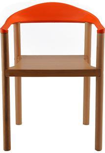 Cadeira P&W Plástico Pp E Madeira De Faia Laranja - Orb