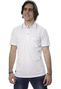 Camiseta Laos Gola Polo Manga Curta Um Com Bolso Branca