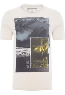 Camiseta Masculina Praia Quadrados - Bege