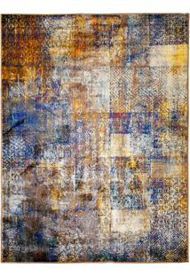 Tapete Cosy Retangular Polipropileno (140X200) Amarelo E Azul